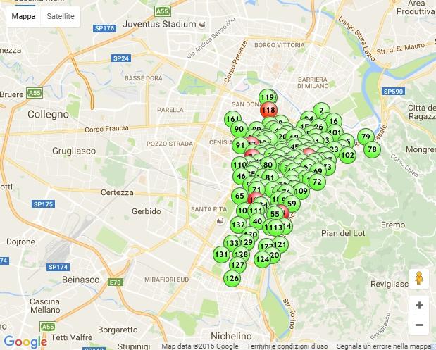 Una mappa della distribuzione dei Tobike. Notare la totale assenza di stazioni nella zona nord e occidentale della città